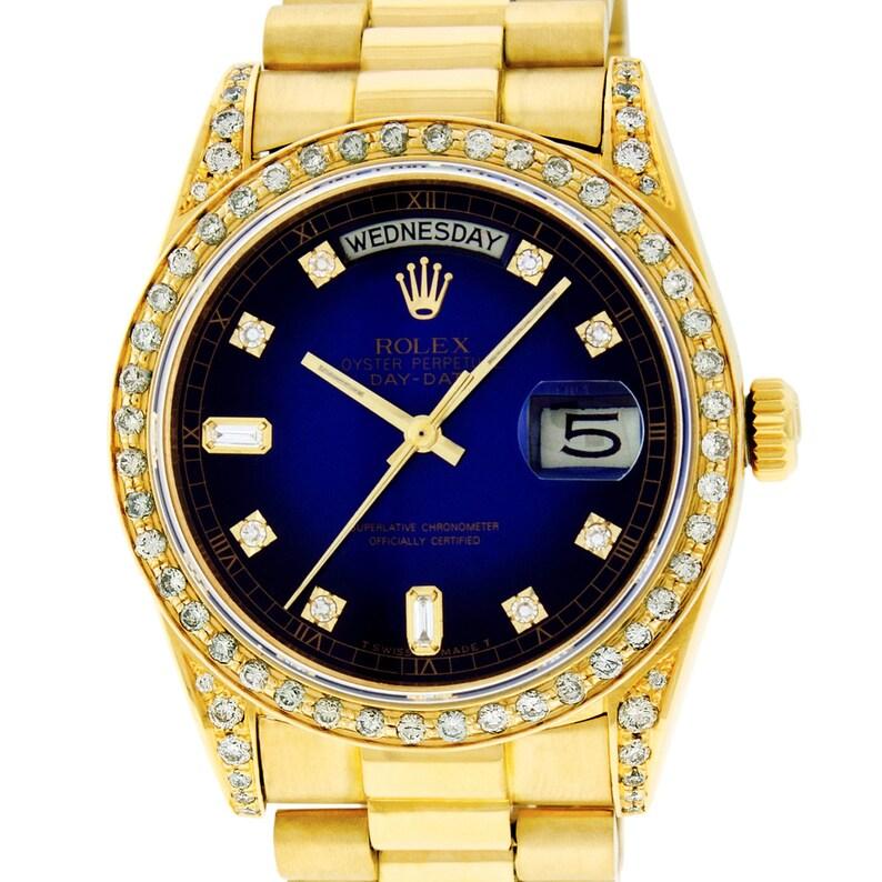 Rolex Mens Day Date President Watch 18k Yellow Gold Blue Vignette Diamond Dial And Bezel