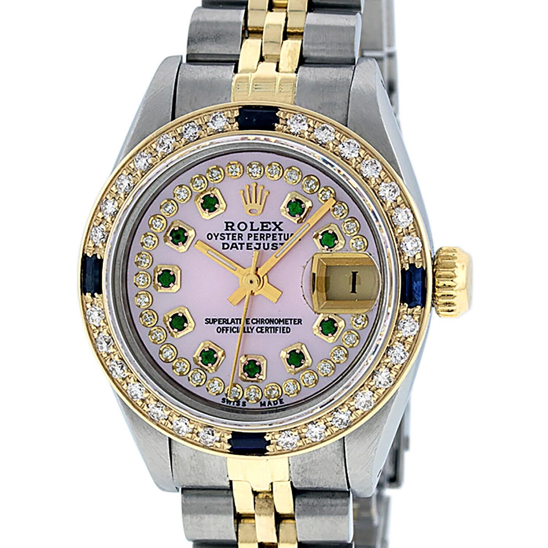 a1c277cc2c3 Rolex Lady Datejust Watch SS & 18K Yellow Gold Pink MOP Emerald ...