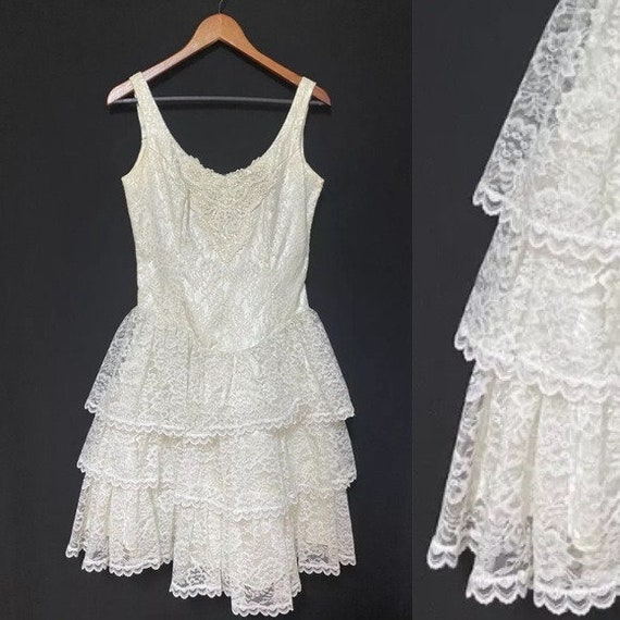 Gunne Sax lacey wedding cocktail vintage dress 9
