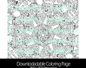 Kaleida Winter Days Downloadable Coloring Page. Personal Use. KaleidaCuts Handlettering.