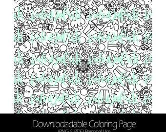 Kaleida Christmas Downloadable Coloring Page. Personal Use. KaleidaCuts Handlettering.