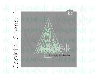 """We Wish You a Merry Christmas Lettering Cookie Stencil (matches 4"""" triangle tree cookie cutter)"""