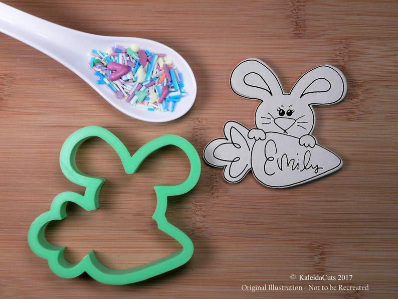 Bunny Carrot Plaque Cookie Cutter image 0