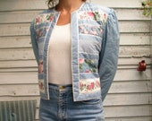 1970s Floral cropped QUILTED Jacket BELL SLEEVE Romantic blouse - patchwork reversible Quilted jacket - Short Crop Boxy boho hippie Jacket