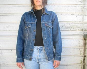 3af3b0cfb 1970s Vintage LEVIS orange tab dark blue worn in Denim jean Jacket -  Vintage Jean Jacket - Levis Indigo blue Denim jean Jacket