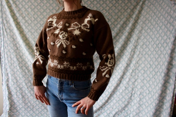 80s chunky knit brown floral crop cropped pullover