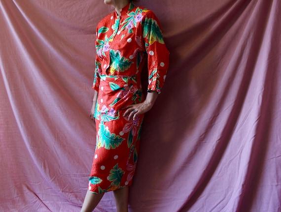 80s vintage 100% silk floral maxi dress - vintage
