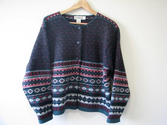 1990s LL Bean 100% wool fuzzy Vintage oversized B… - image 4