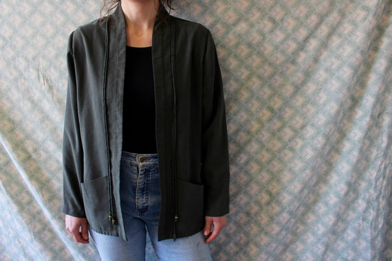 vintage 80s open front light weight blazer jacket