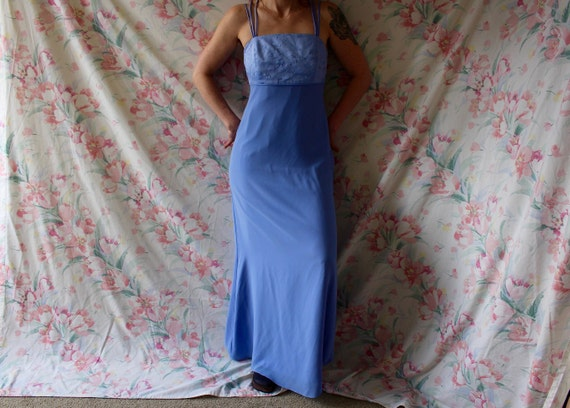 90s blue floral embroidered strappy bodycon maxi s