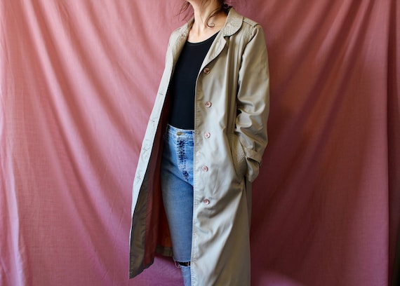 Vintage Beige Fabric F /& F Button Belt Fitted Military Mid Length Coat Jacket Sz 14  42