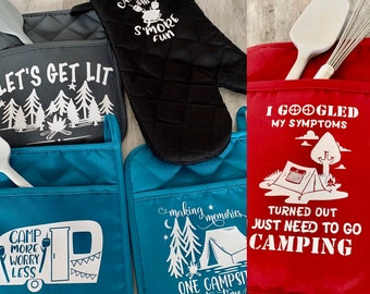 Camper Oven Mitt Vintage Campers RV Camper Pot Holder Pot Holder Oven Mitts Camping Theme Trailer Camping Oven Mitts Retro
