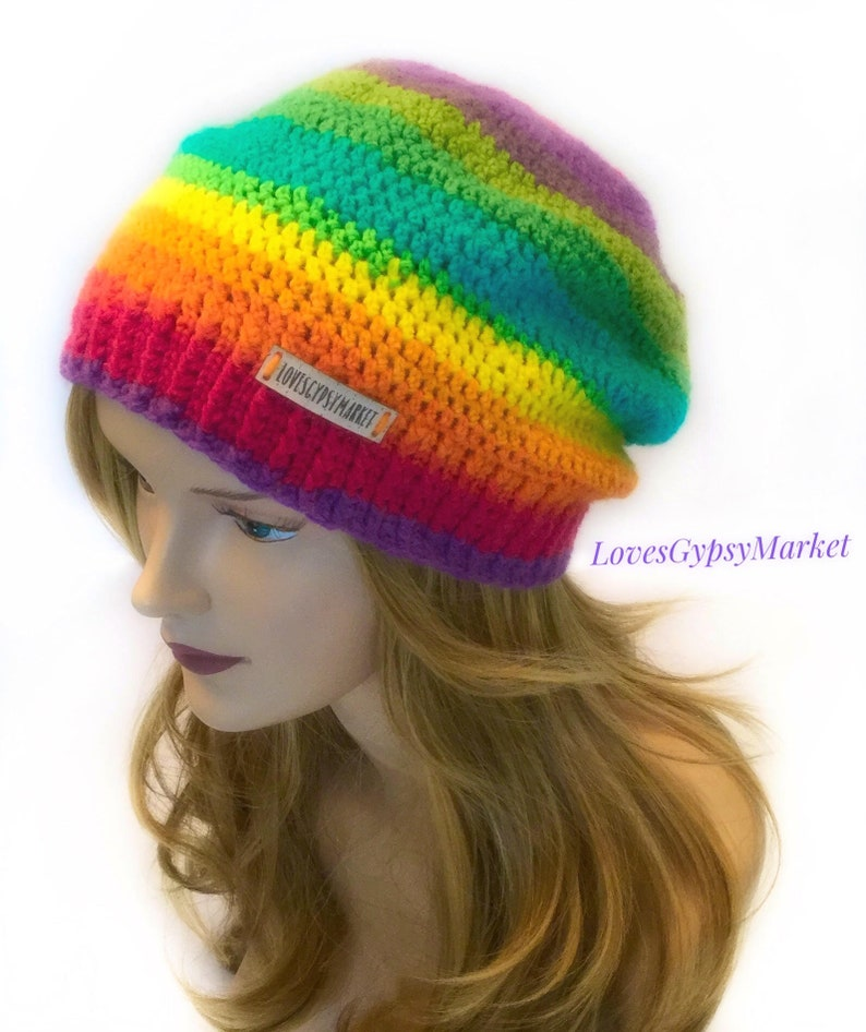 fbdf3da0e7f RAINBOW SLOUCHY Hat For Women Crochet Slouchy Rainbow Beanie.