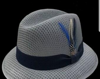 Mens Traditional Blue Gray Lowrider Original Frankshats Garcia hat Derby  Fedora 3bf201092310