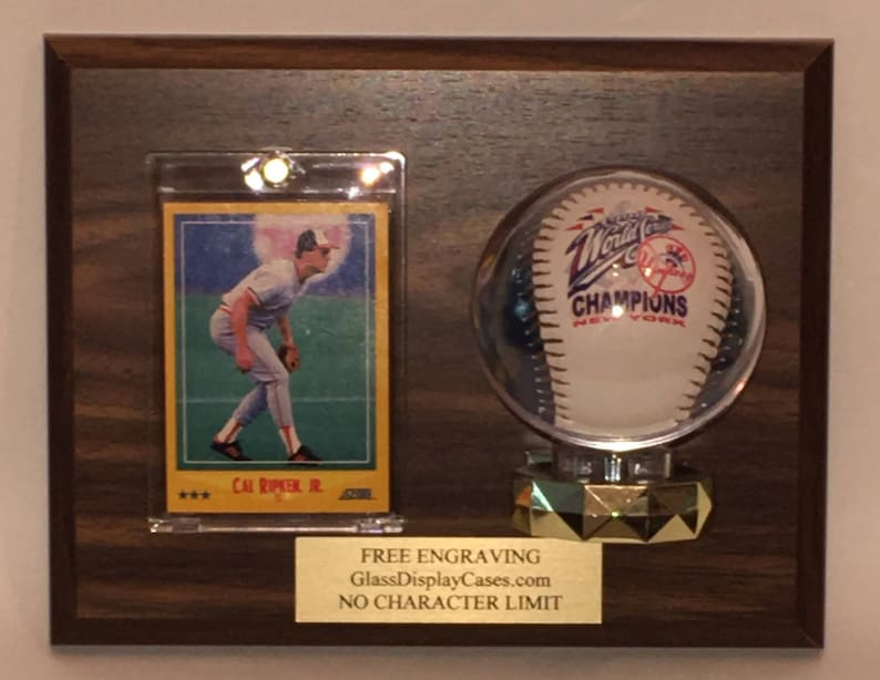 Baseball Trading Card Personalized Wall Mount Wood And Acrylic Display Case With Walnut Finish Plaque Free Engraving