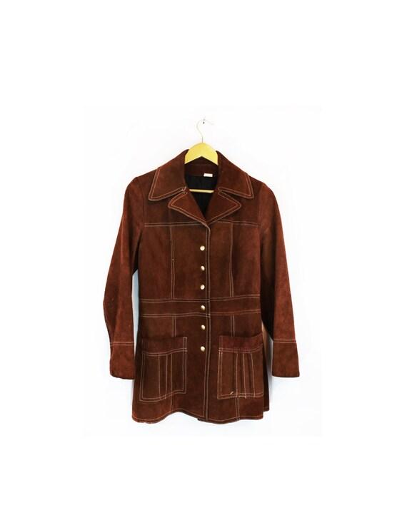 Vintage 70s Chocolate Brown Suede Snap Closure Jac