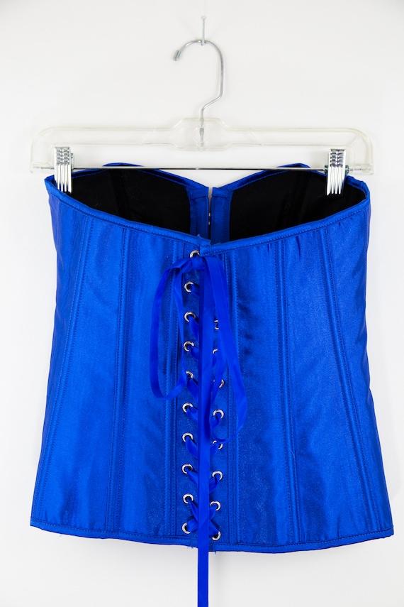 Vintage Cobalt Blue Lace Up Corset size M - image 5