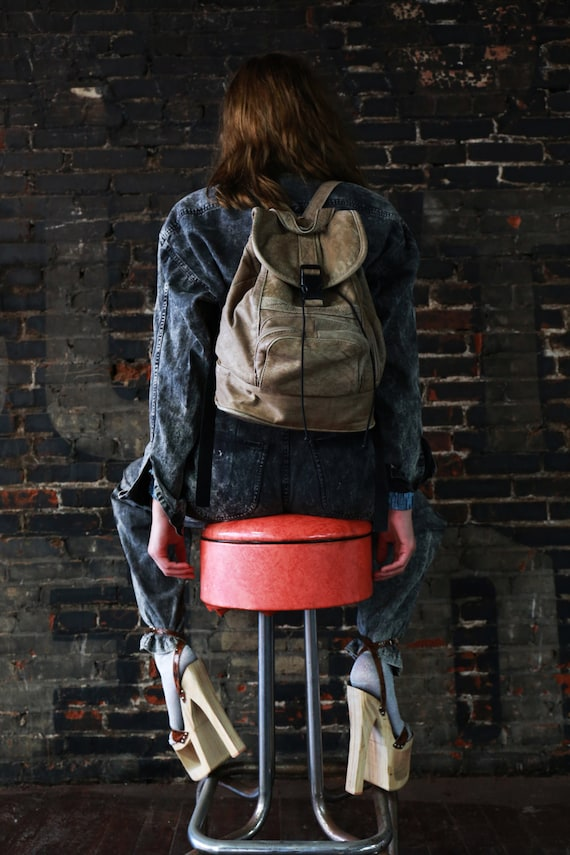 Vintage 80s Taupe Leather Backpack