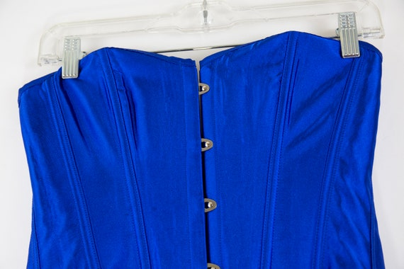 Vintage Cobalt Blue Lace Up Corset size M - image 6