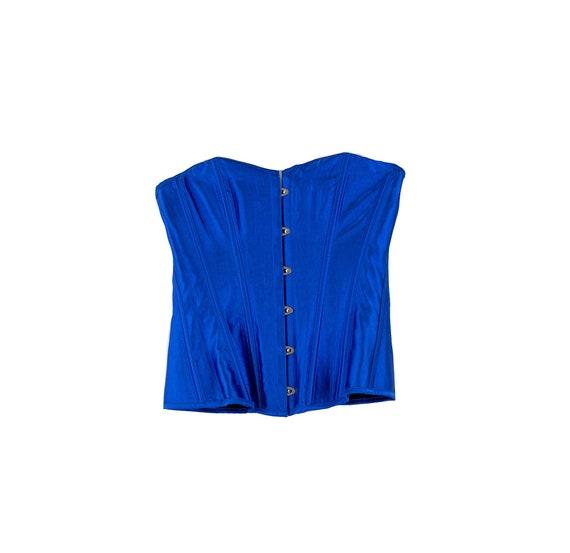 Vintage Cobalt Blue Lace Up Corset size M - image 1
