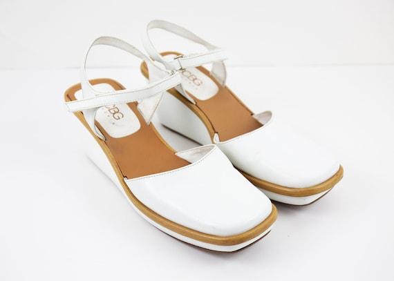 Vintage White BCBG Mary Jane Style Wedge Platform