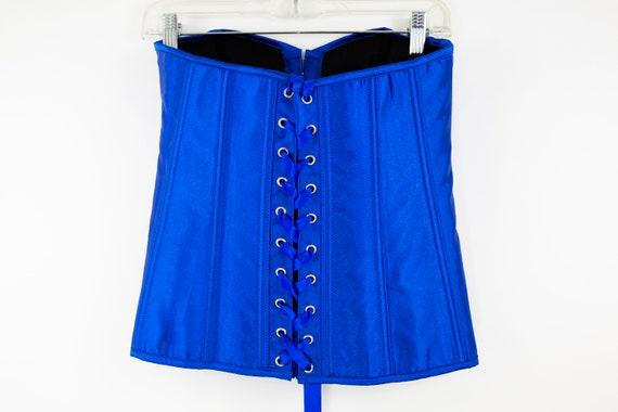 Vintage Cobalt Blue Lace Up Corset size M - image 9