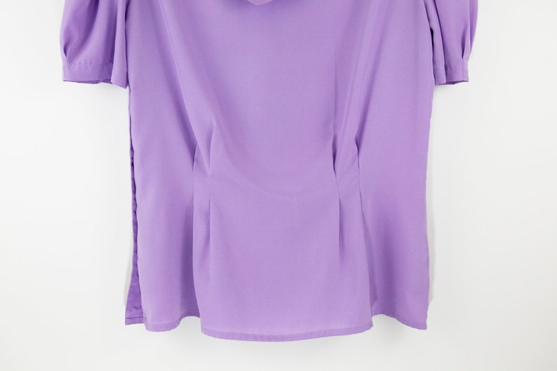 Vintage Lavender Puff Sleeve Neck Tie Short Sleeve TopBlouse size SM