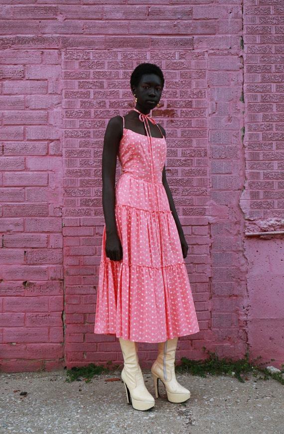 Vintage 80s/90s Pink Eyelet Prairie Dress Large