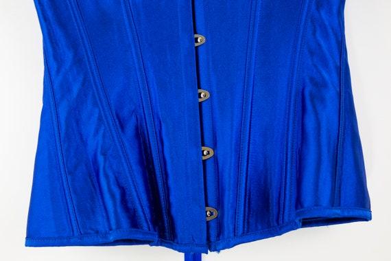 Vintage Cobalt Blue Lace Up Corset size M - image 7