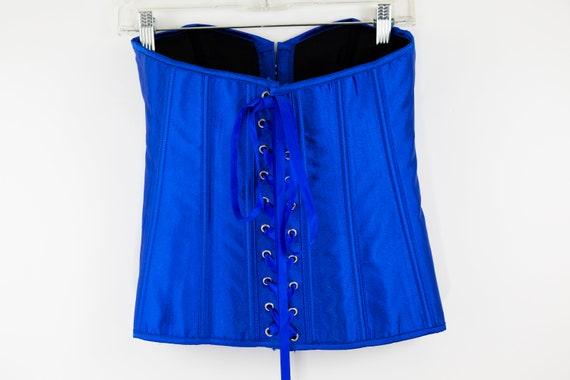 Vintage Cobalt Blue Lace Up Corset size M - image 8
