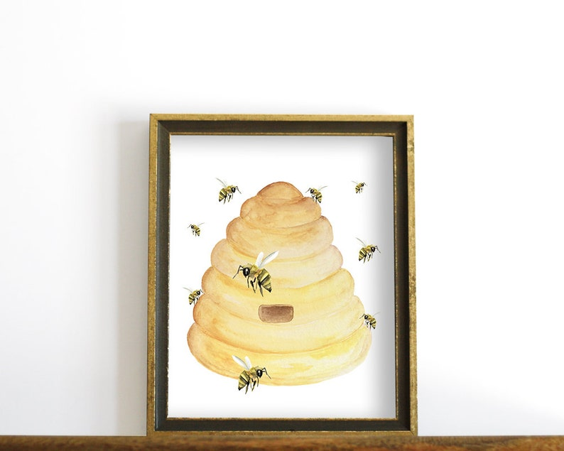 photograph regarding Beehive Printable named Beehive Print, Bee Kitchen area Decor, Beehive Printable Wall Artwork, Downloadable Prints, Kitchen area Printable, Watercolor Bee Printable, Honey Bees