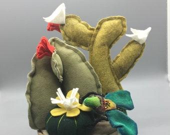 Textile Cactus on Ceramic pot|fake succulents|office and home decor, textile art, Flower arrangement