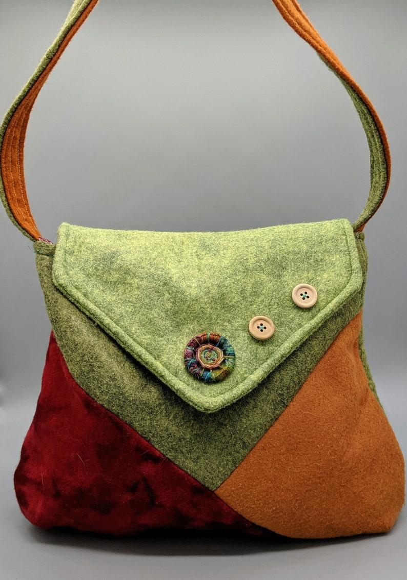 Textile Mix Bag OOAK Bag handmade bag Wool Felt bag image 0