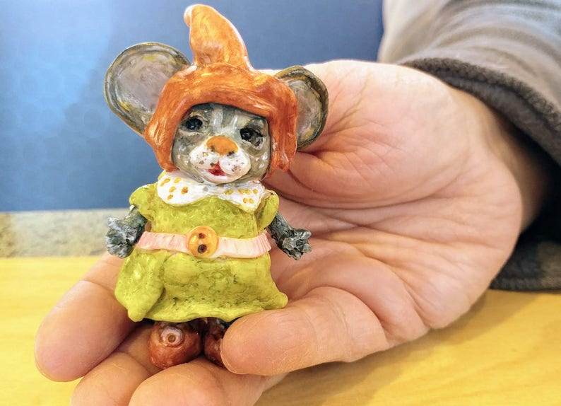 Miniature Polymer Clay Mouse OOAK Miniature image 0