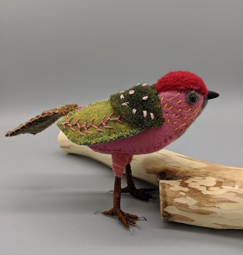 Textile art Bird sculpture Room decor Felt Bird image 0