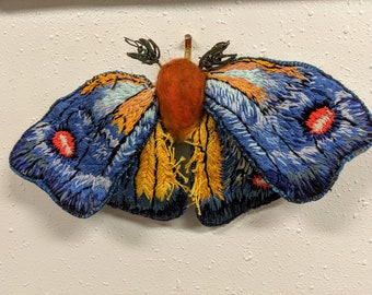 Embroidered Moth- Textile art- decor, room design, butterfly embroidery handmade