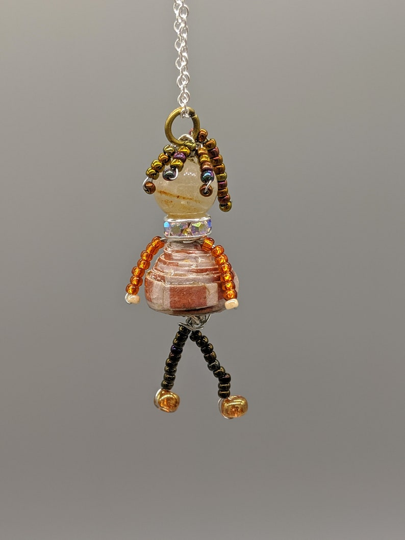 Paper Bead Doll Pendant. Beaded doll image 0