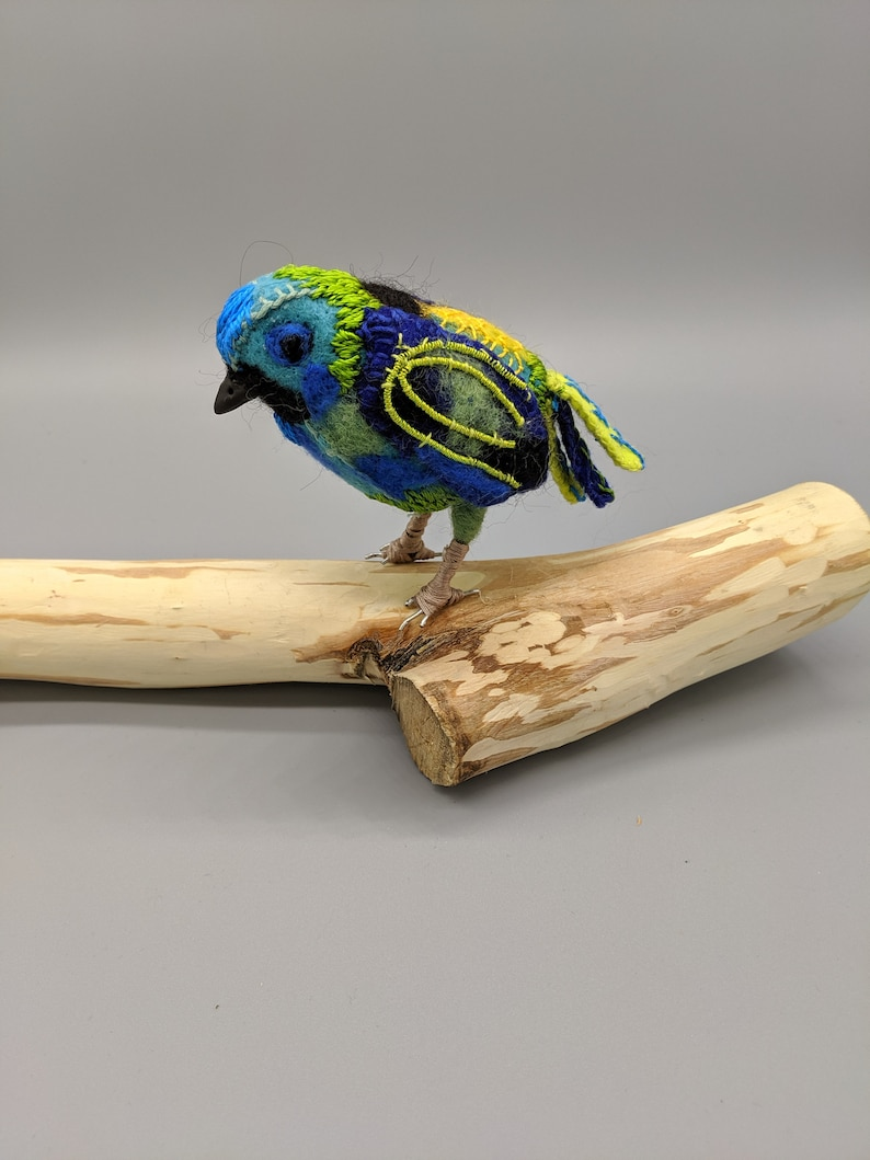 Textile art Tangara Seledon Green Headed Tanager bird image 0