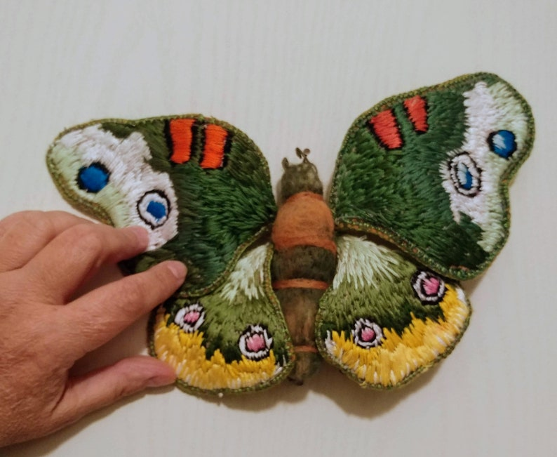 Embroidered Moth Textile art decor room design butterfly image 0