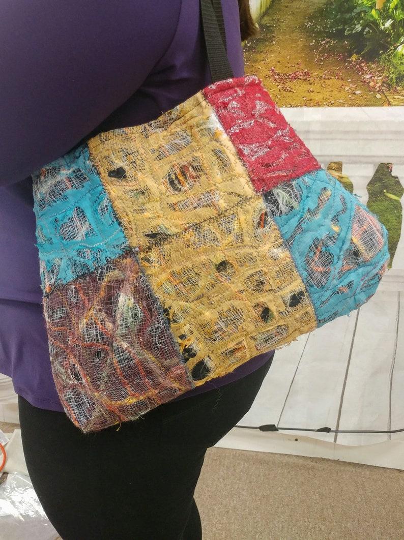 Textile Mix Bag OOAK Bag handmade bag image 0