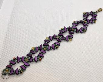 Beaded Bracelet with Crystals, Bead Weaving Bracelet