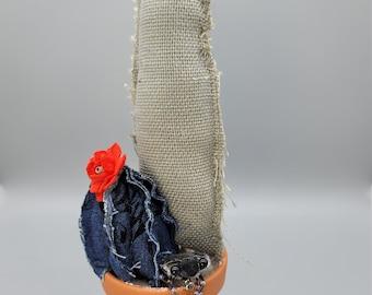 Textile Cactus on Ceramic pot|fake succulents|office and home decor, textile art