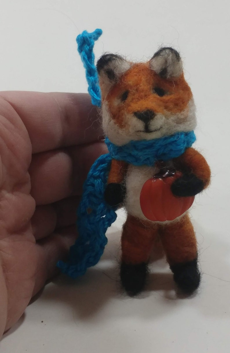 Little Red Fox with a pumpkin/Needle felted Red image 0