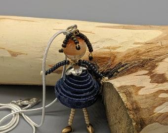 Paper Bead Doll Pendant. Beaded doll