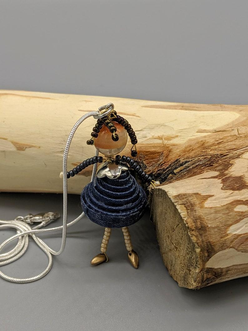 Paper Bead Doll Pendant. Beaded doll image 0