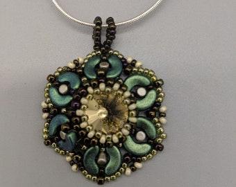Beaded pendant, Bead Weaving Pendant, Polka Dot Pendant