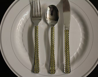 Gold Rhinestone Bling Forks Spoons Knives Cutlery