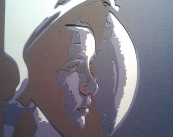 Anna Fisher - first mother in space, 4 layer, layered paper cutting, Instant download, papercut template, stencil template.