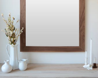 Wooden Mirror - Walnut Mirror - Wall Mirror - Large Wood Mirror - Rustic Mirror - Farmhouse Mirror - Free Shipping