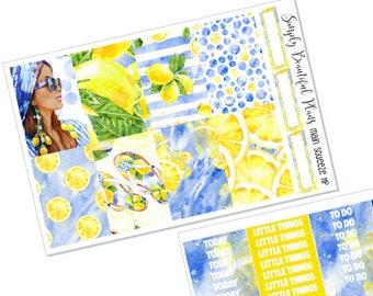 Main Squeeze | Full Planner Sticker Kit | Erin Condren & Happy Planner | Lemon and Navy